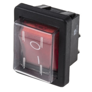 On/Off Rocker Switch Red 16a T120 55 250v 4 connections