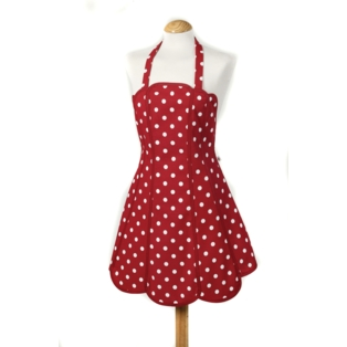 Belle Apron - Red Shaped 100% Cotton, Made in UK